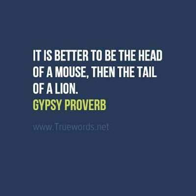 It is better to be the head of a mouse, then the tail of a lion