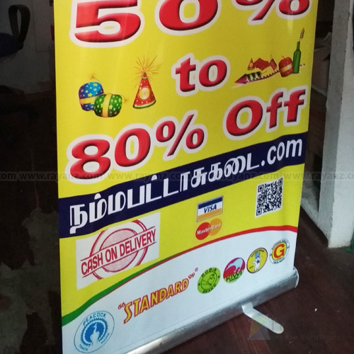Roll up stand with start flex banner printing sample in Chennai
