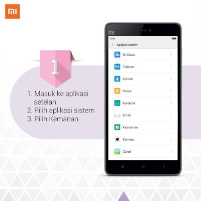 Cara menampilkan menu keamanan di bar notifikasi HP Xiaomi