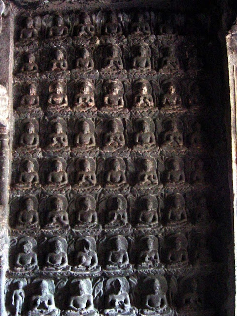 multiple Buddha images in Ajanta cave number 7