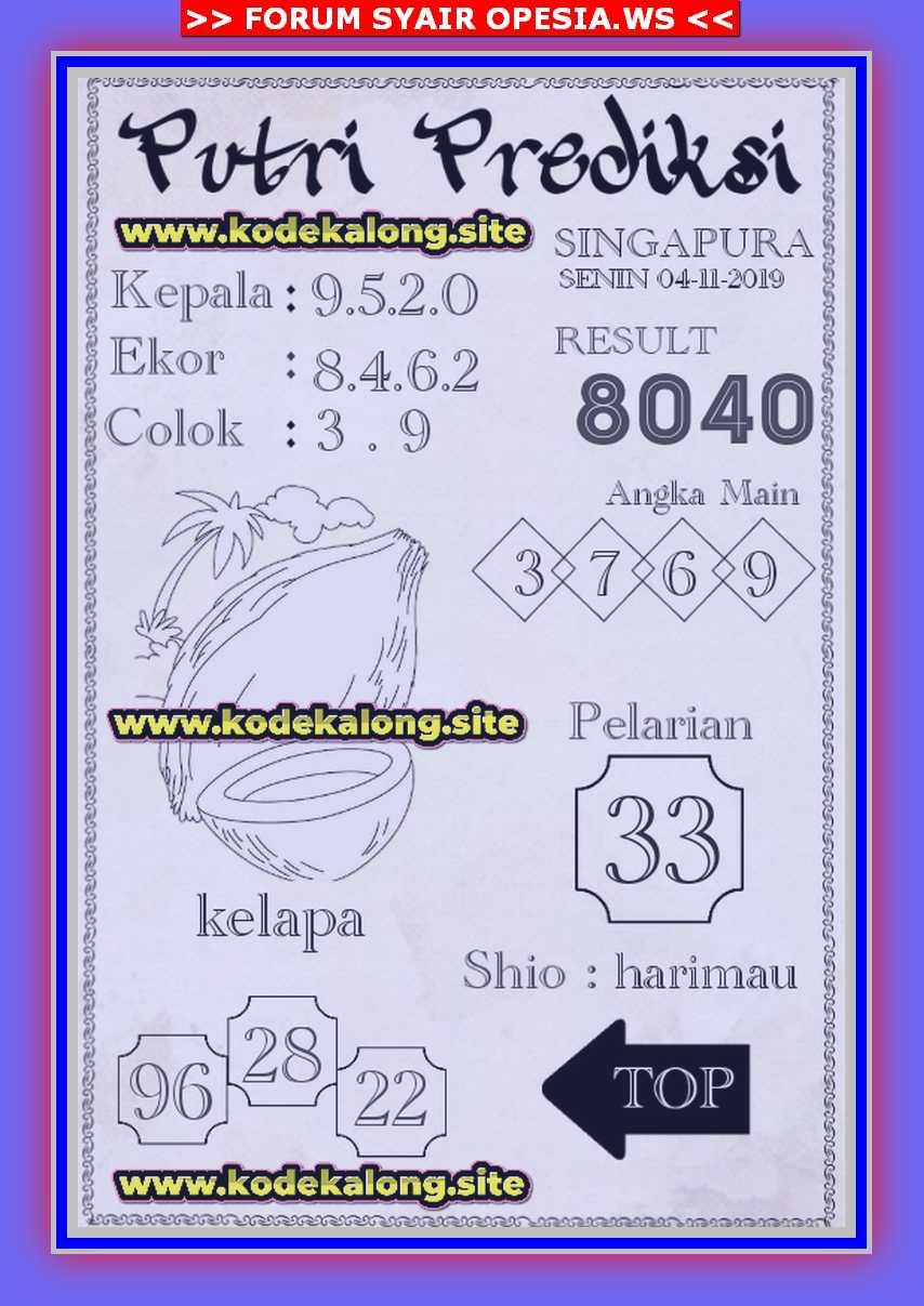 Kode syair Singapore Senin 4 November 2019 143