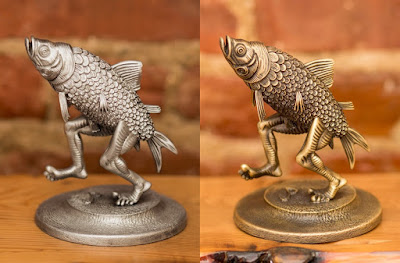 Walking Fish Pewter Statue by Jim Pollock x Bottleneck Gallery