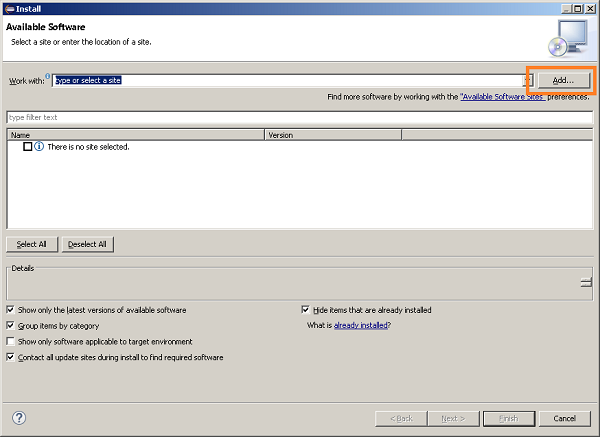 Available software window in Eclipse