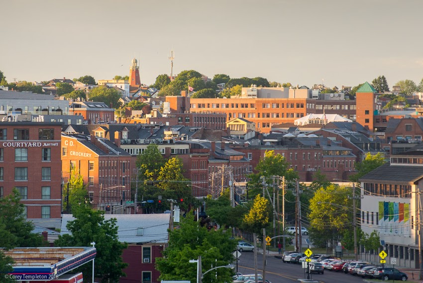 Photo by Corey Templeton of Portland, Maine USA June 2016 late afternoon from Casco Bay Bridge looking down Commercial Street towards Munjoy Hill.