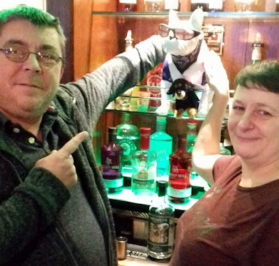 Mike and Net Williams - mine hosts at the Woolpack in Brigg - behind he bar on their final Saturday night at the hostelry in January 2019 - see Nigel Fisher's Brigg Blog
