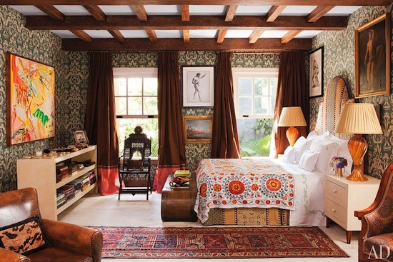 exposed beams, master bedroom, ethnic prints, boho luxe