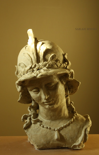 sculpture, art, artist, Minerva, Magarita, Trip, Sarah, Myers, woman, head, figurative, classic, life-size, Ferdinand, Bol, ceramic, stoneware, large, big, gentle, beauty, pearls, necklace, earrings, helmet, mythology, Athena, Pallas, eyes, bust, arte, escultura, ceramica, handwork, 3D, classical, serene, placid