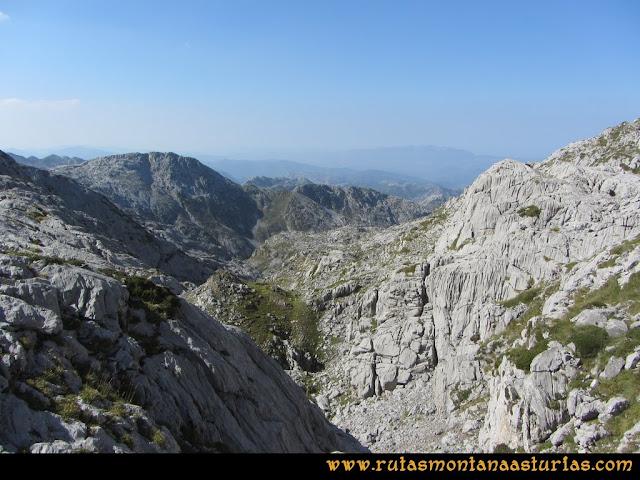 Ruta Ercina, Verdilluenga, Punta Gregoriana, Cabrones: Entrando en el Canalón del Conjurtao