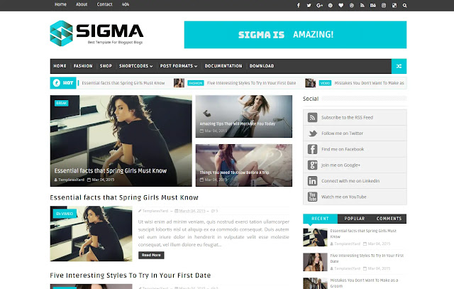 Sigma Responsive Magazine News Tutorial Tips & Tricks Personal Blog Blogger Template Theme