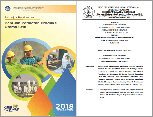 Petunjuk Pelaksanaan Bantuan Peralatan Produksi Utama SMK 2018