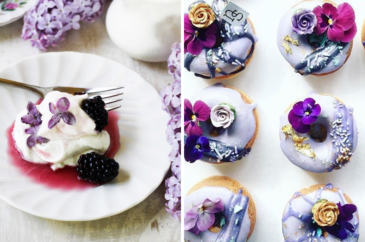 Lilac Blackberry Pavlova and Lavender Floral Donuts