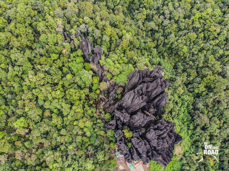Drone photograph of Yana Rocks, Karnataka