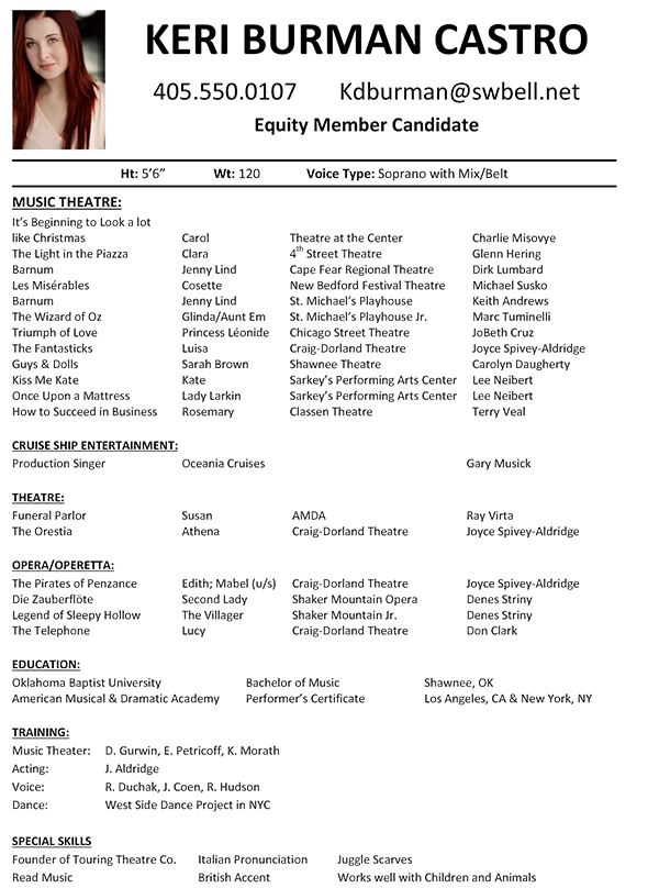 resume musical theater