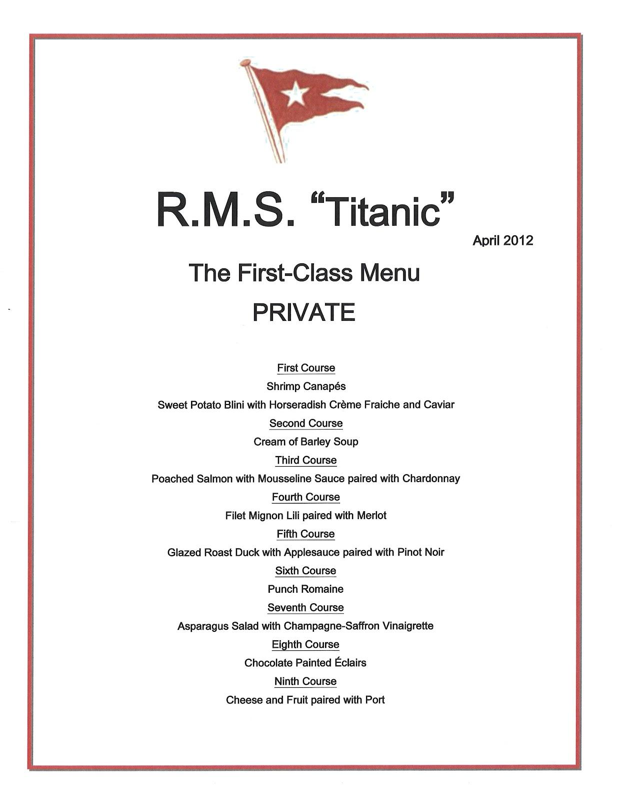 Titanic Third Class Menu 100th Anniversary Celebrating The Titanic Dinner And Tea