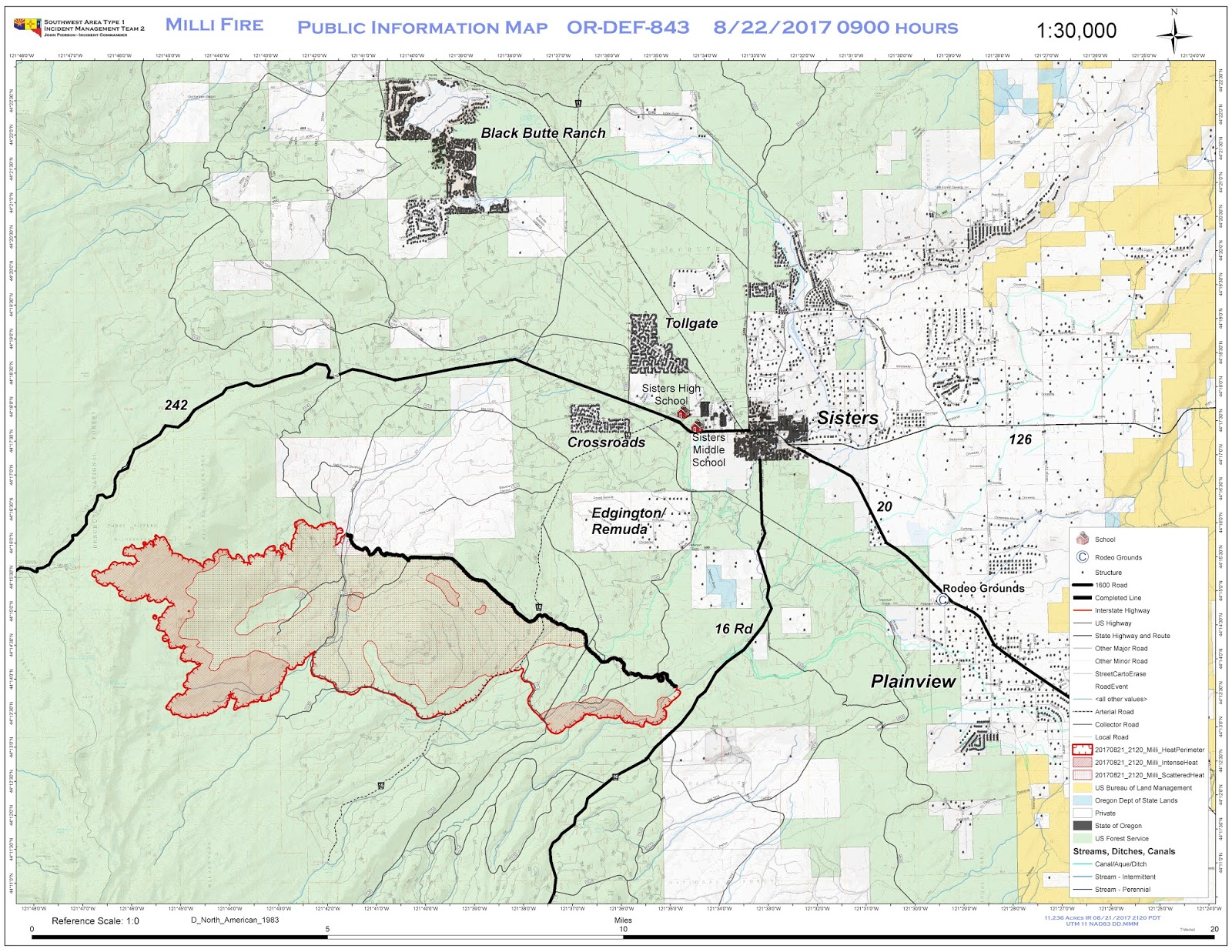 Central OR Fire Info Milli Fire Map August 22 2017