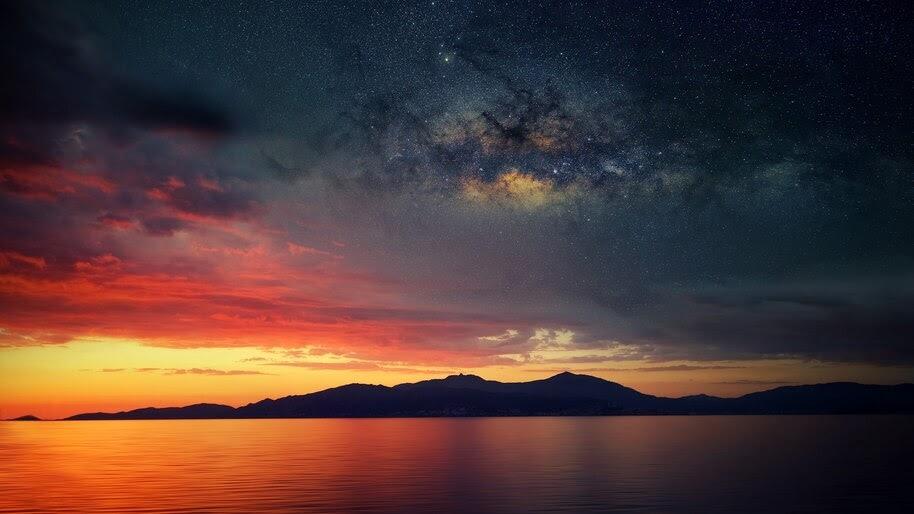 Sunset, Stars, Landscape, Scenery, 4K, #4.753