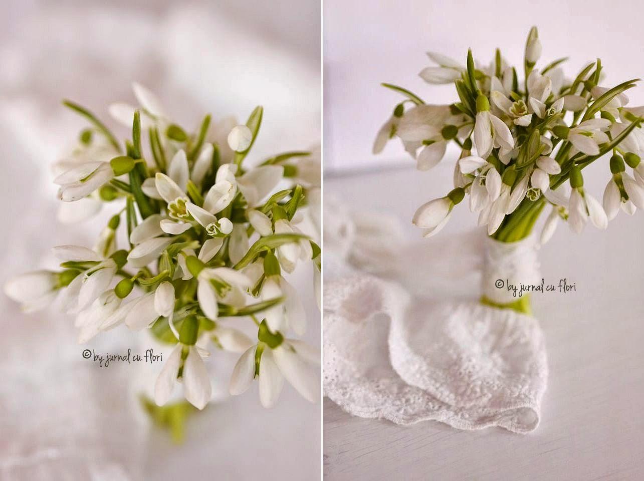 buchet de ghiocei si dantela  shabby chic snowdrop galantus lace bouquet Schneeglöckchenstrauss