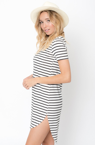 Buy Now Striped Curved Hem Tee Dress Online