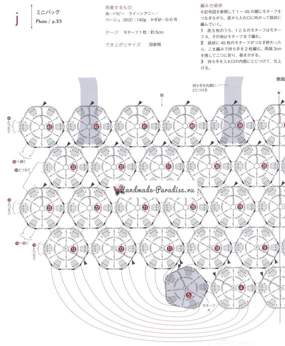 Сумка крючком безотрывным вязанием цветочных мотивов (1)