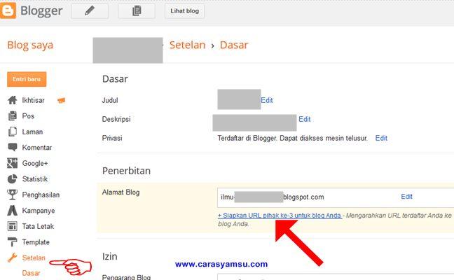 Cara Mengubah Domain Blogger Blogspot ke com atau domain TLD