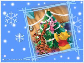Winnie the Pooh Christmas Celebration: Free Printable Frames, Cards or Invitations