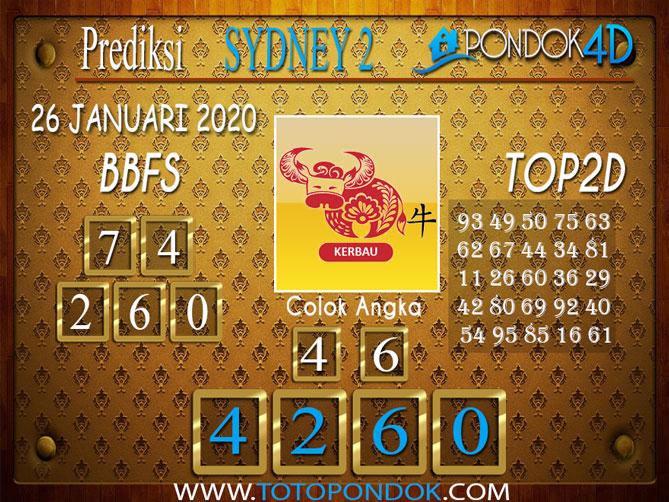 Prediksi Togel SYDNEY 2 PONDOK4D 26 JANUARI 2020