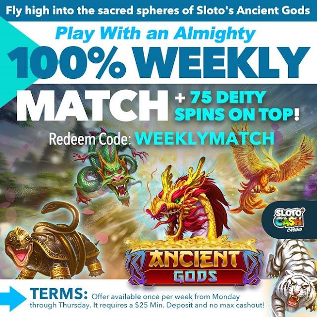 Sloto Cash casino weekly match bonus