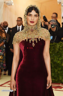 Priyanka Chopra in Maroon Velvet Gown at 2018 MET Costume Insute Gala ~ Exclusive 07
