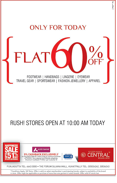 Flat 60% off in Central | Only for Today ! Hyderabad Central