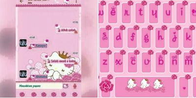 BBM MOD Hello Kitty Flower Pink Full Color Apk