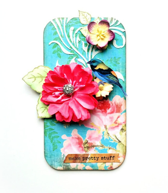 Floral Mixed Media Board with Stenciling and Birds