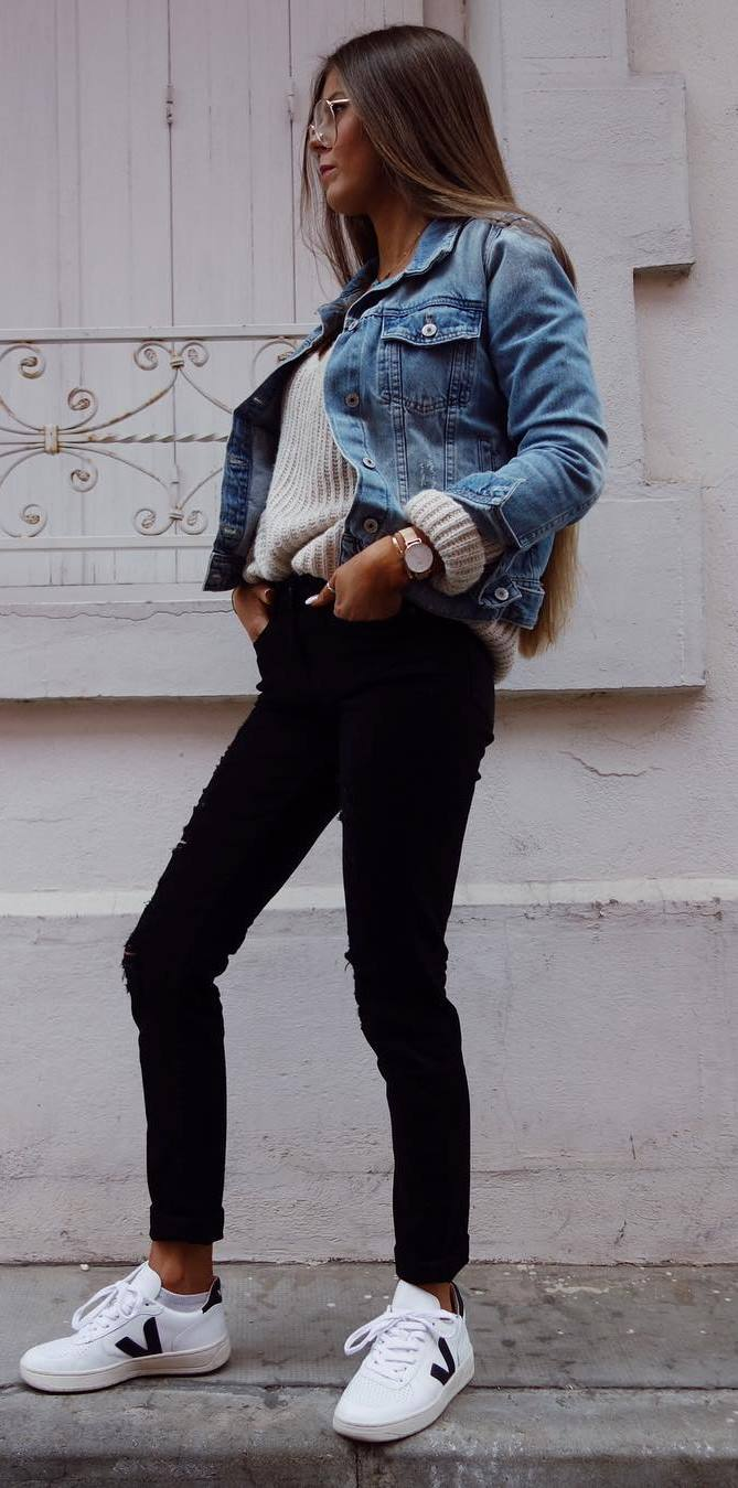 street style obsession: denim jacket + knit +skinnies + sneakers