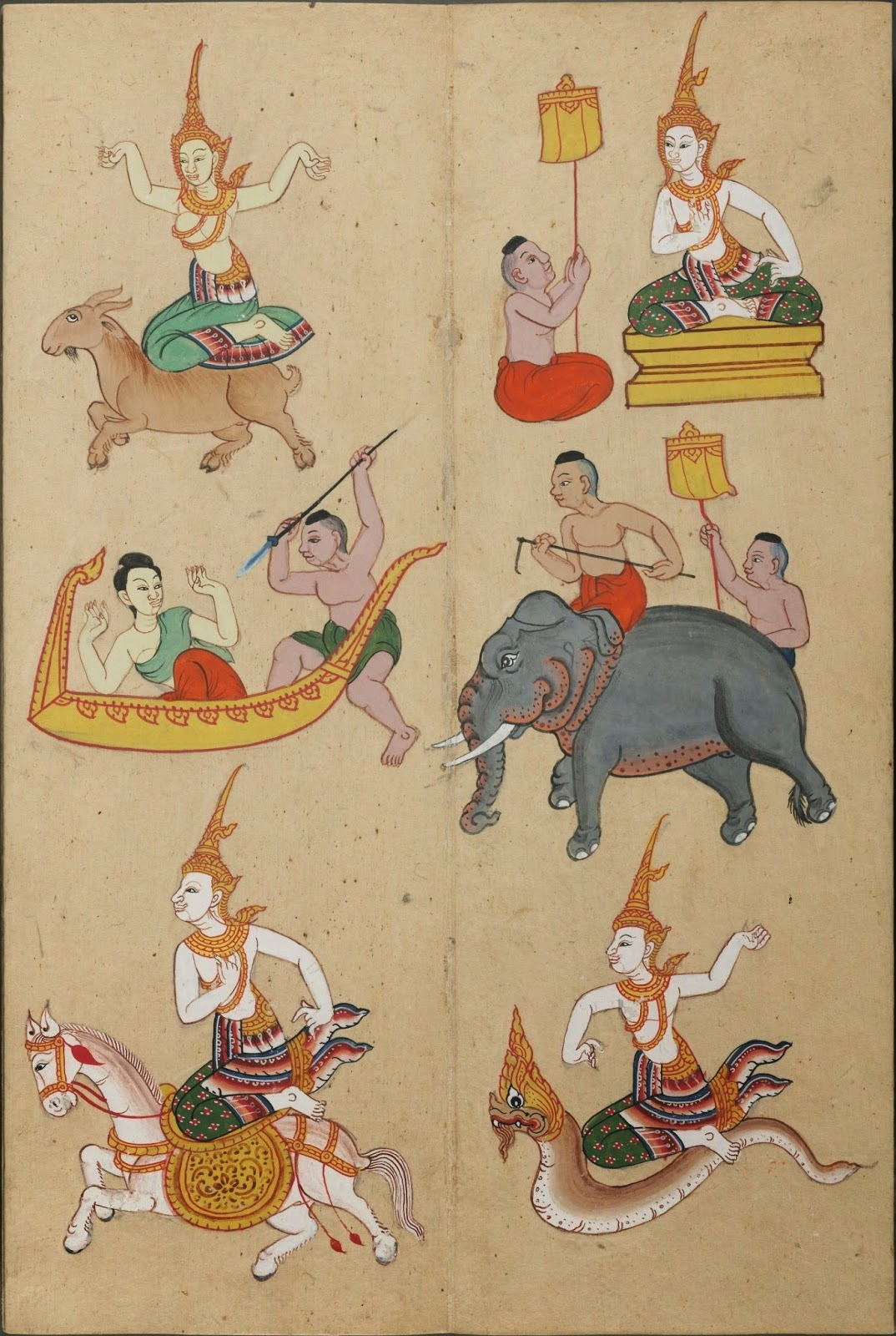 drawings of zodiac figures implying the Year of the Goat in East Asian astrological belief system