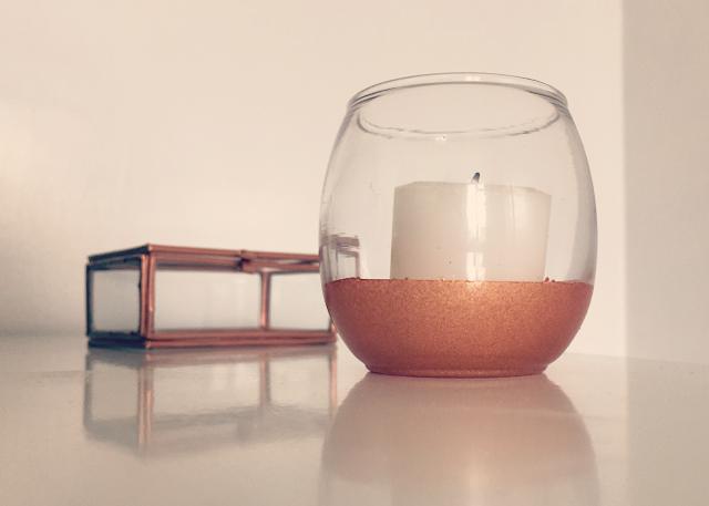 DIY copper dipped glass votive box