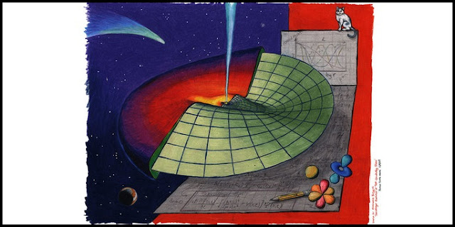 Schrödinger in Space: An artist's impression of research presented in Batygin (2018), MNRAS 475, 4. Propagation of waves through an astrophysical disk can be understood using Schrödinger's equation - a cornerstone of quantum mechanics. Credit: James Tuttle Keane, California Institute of Technology