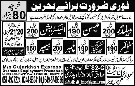 Jobs in Bahrain for Welders, Mason, Electrician and Other 17 Feb 2018