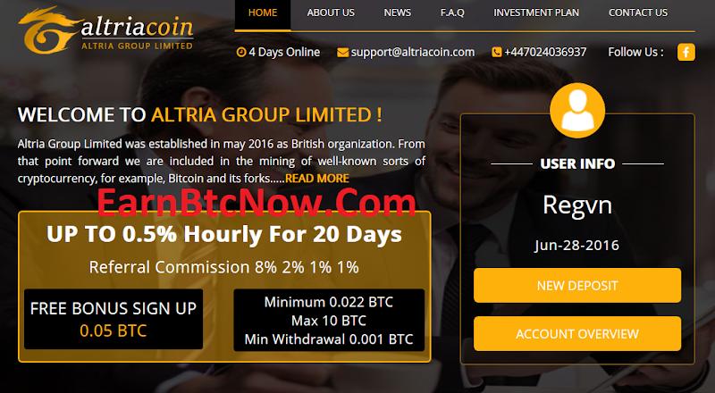 [SCAM][HIYP] Mining Bitcoin (BTC) with Altriacoin, 0.2% Daily Forever, Minpay 0.001 BTC