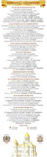 zile de post si posturi de peste an, zile aliturgice si zile cu liturghie diferita, zile in care nu se savarsesc parastase, zile si date importante, sarbatori bisericesti nationale, zile si sarbatori legale in care nu se lucreaza, nu se fac nunti in anul 2016 si 2017,