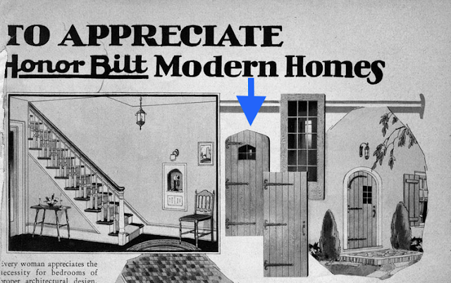 black and white catalog image: Sears doors shown in 1929 Sears Modern Homes catalog, viewable at Daily Bungalow