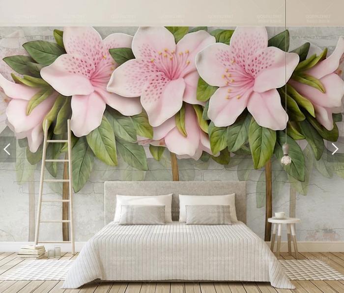 Tranh dán tường 3d hoa dập nổi