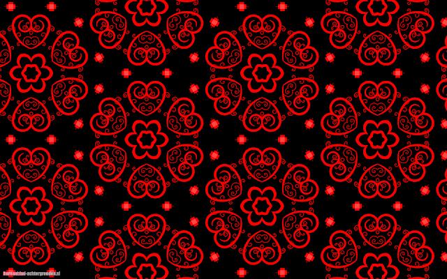 Zwarte wallpaper rode liefdes hartjes patroon