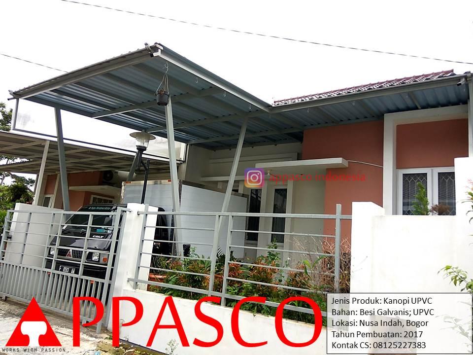Kanopi Minimalis Atap UPVC Tiang V Galvanis di Nusa Indah Bogor