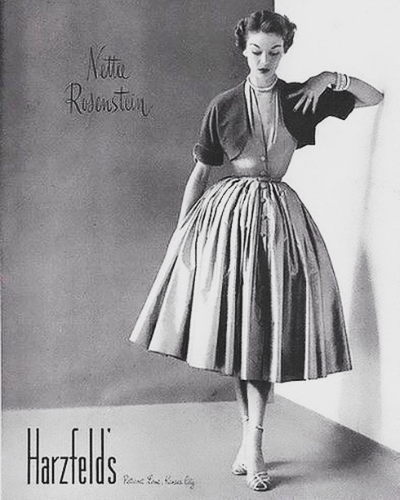 Ad for Harzfeld's featuring model in Nettie Rubenstein Dress