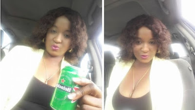 Nigerian Lady Wears This Top And Jean Trousers To Church This Morning And Then Quickly Drinks A Can Of Heineken