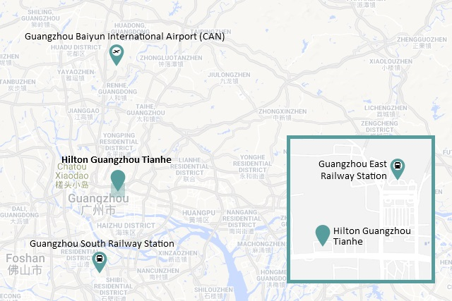 Location Map of Hilton Guangzhou Tianhe courtesy of GoogleMaps