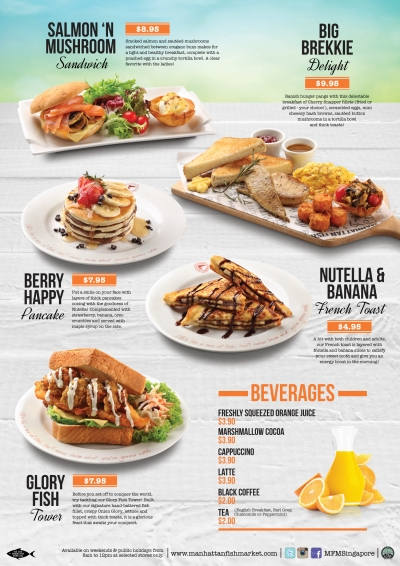 The Fish Manhattan Market S Breakfast Menu Is Available On Weekends From 8am To 12pm At Following Restaurants Causeway Point Century Square