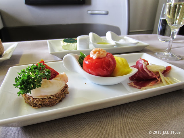 JAL First Class Trip Report on JL005: Amuse bouche trio from the Western Menu