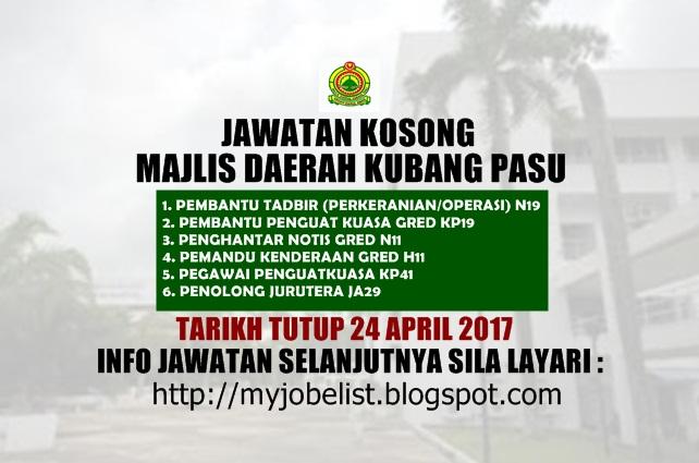 Jawatan Kosong di Majlis Daerah Kubang Pasu (MdKubangPasu)