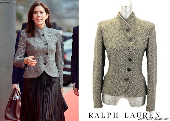 Crown Princess Mary wore RALPH LAUREN asymmetrical tweed blazer