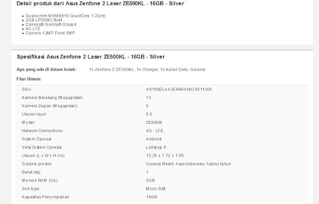 Asus Zenfone 2 Laser ZE500KL - 16GB - Silver
